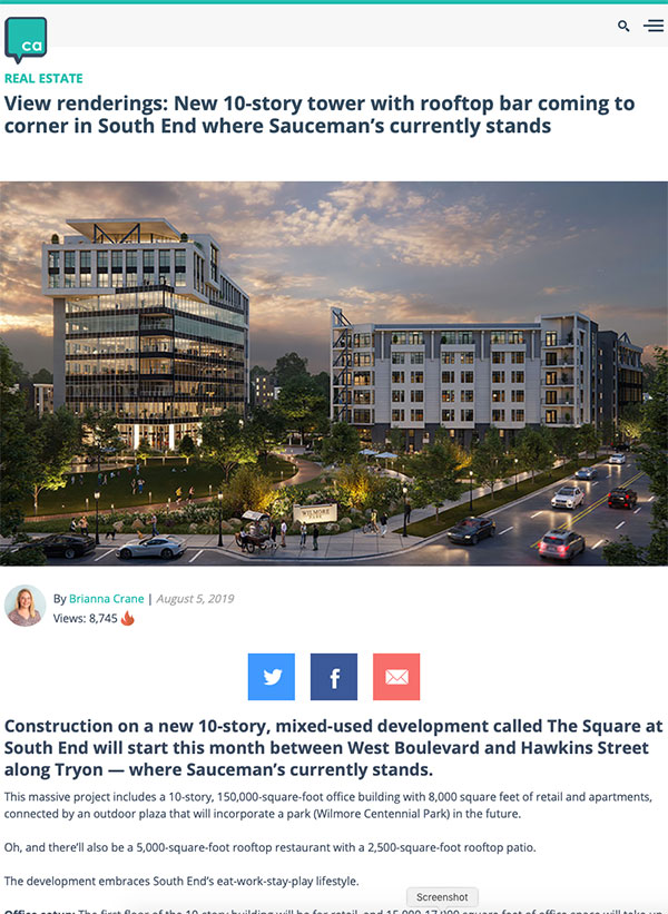 SouthPark City Homes on Charlotte Business Journal website