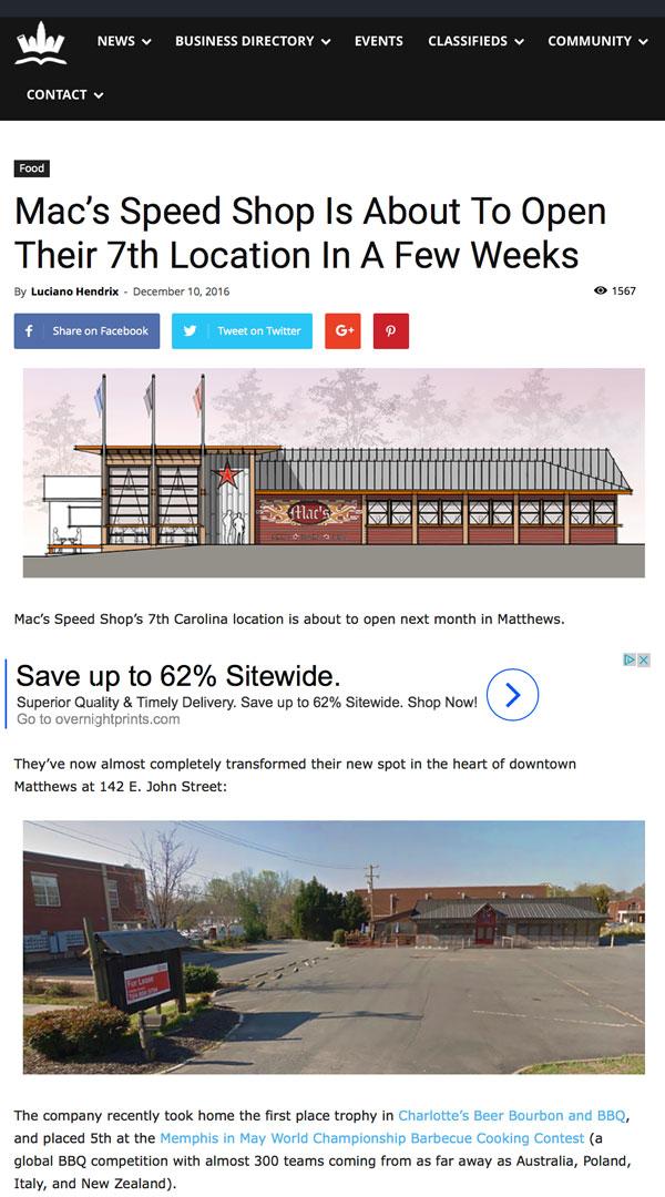 Mac's Speed Shop in Charlotte Stories
